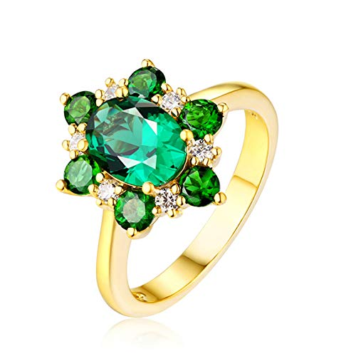 AueDsa Anillos Verde Anillo de Oro Amarillo para Mujer 18 K Flor con Oval Redondo Esmeralda Verde Blanca 1.67ct Anillo Talla 22