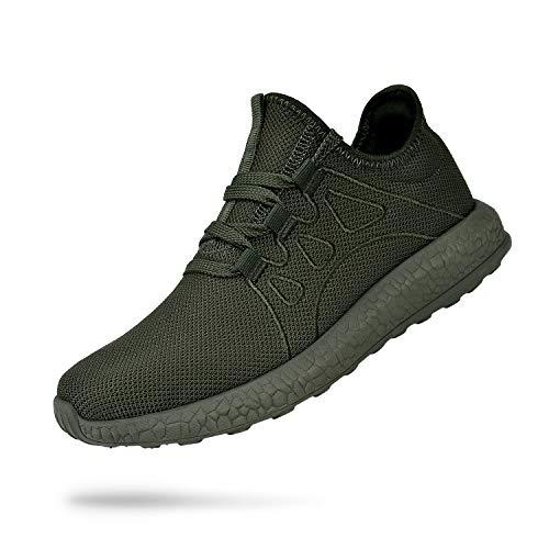 Feetmat Mens Non Slip Sneakers Air Lightweight Walking Tennis Gym Work Shoes Tenis para Hombres Green 10.5