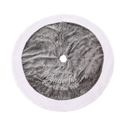 Homo Trends Weihnachtsbaumrock, 89,9 cm, grauer Plüschstoff, Baumrock für Weihnachten, Heimdekorationen