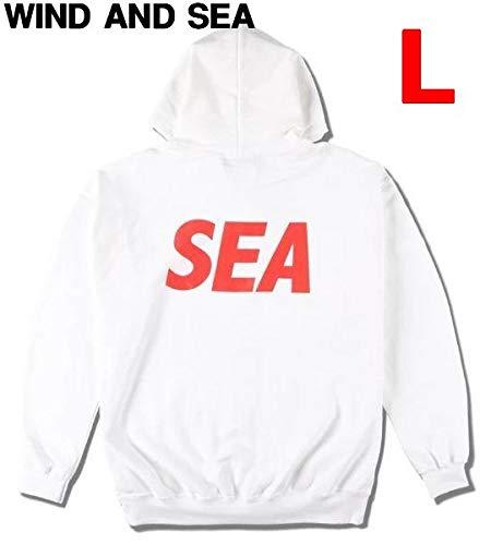 L 【WIND AND SEA SEA(BP) HOODIE/WHITE-RED (CS-179) ウィンダンシー フーディー スウェット パーカー】