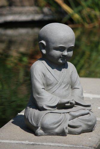 Figur Shaolin Mönch Meditationsgeste – für Haus und Garten – Höhe 42 cm – grau - 4