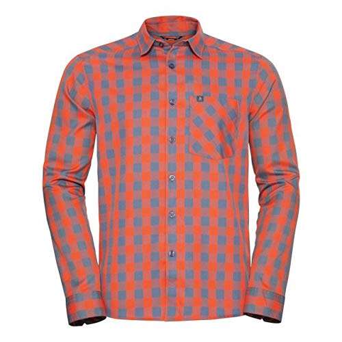 Odlo Herren Mythen Langarm-Hemd, Mandarin red - China Blue - Check, L