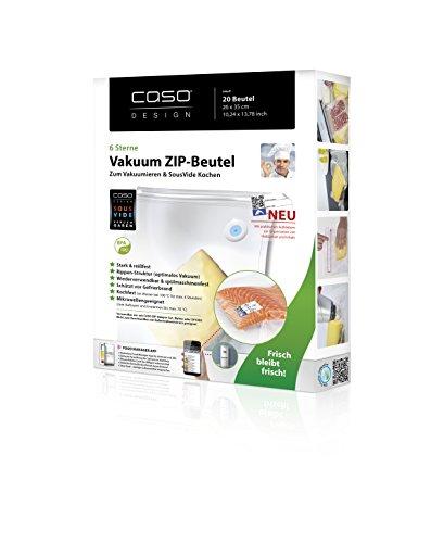 CASO ZIP-Beutel 26x35cm, 20 Stück für CASO Vakuumierer, kochfest, für Mikrowelle und Sous Vide geeignet, BPA Frei, stark & reißfes