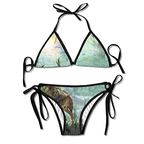 Bikini Pinturas Fauna Silvestre Lobos Caza Elk Ropa De Playa Sexy Traje De Baño De Playa 2 Piezas Bikini Traje De Baño Hawaii Durable Mujer Moda Piscina Casa Traje De Baño