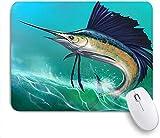 Alfombrilla de ratón para juegos, Marlin azul Pez vela en las olas Salto Animales Vida silvestre Com...