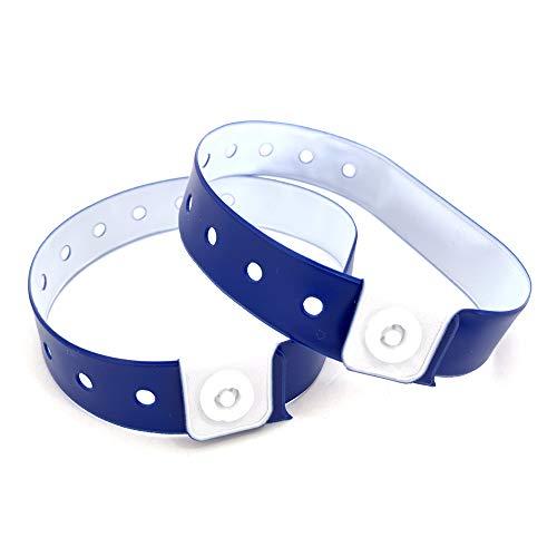 Set de 100 pulseras de plástico/vinilo para eventos, personalizables e impermeables (azul navy)