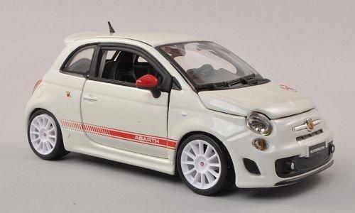 Fiat Abarth 500 esseesse, Weiss/rot, Weisse Felgen , Modellauto, Fertigmodell, Bburago 1:24