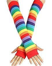 QERMULA Vrouwen Meisje Gebreide Over Elleboog Lange Arm Warmers US Vlag Regenboog Strepen Patchwork Vingerloze Handschoenen met Duim Gat Party Kostuum Winter Handschoenen 7 #