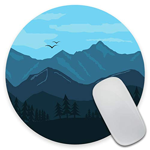 Amcove Mouse Pad, Mountain Landscape Round Mouse Mat, Cute Mouse Pad with Design, Non-Slip Rubber Base Mousepad, Office Mouse Pad, Small Size 7.9 x 7.9 x 0.12 Inch, Mandala Colour