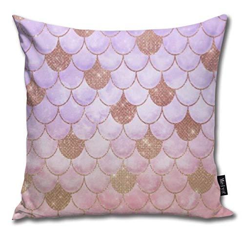 Glam Girly Kissenbezug in Form einer Meerjungfrauenschuppe, roségoldfarben, glitzernd, für Wohnzimmer, Sofa,...