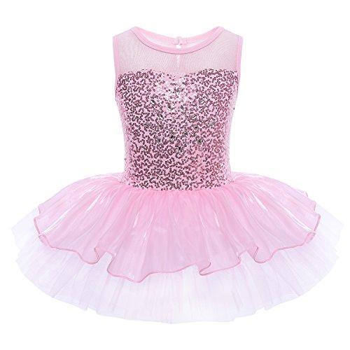 iEFiEL Mädchen Kleid Ballettkleid Kinder Ballett Trikot Ballettanzug mit Tütü Röckchen Pailletten Kleid in Weiß Rosa Türkis (134-140, Pink)