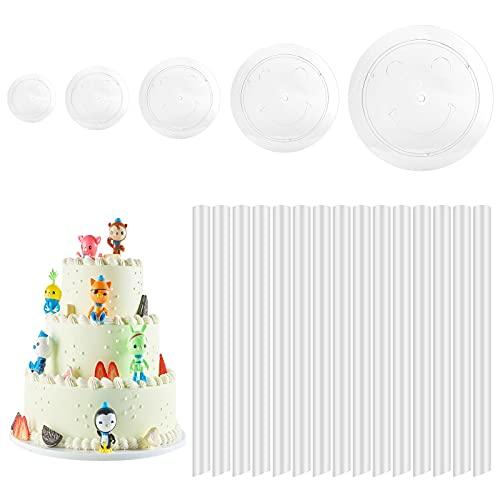 Alzate per Torte 5 Tavole per Dolci Supporti per Torta di Plastica 15 Pezzi Multistrato Pioli Tasselli per Torte per Supporto Della Costruzione di Torte a Più Livelli (4, 6, 8, 10,12 inch)