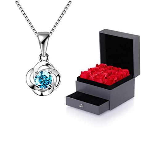 Joyería de moda Afortunado de plata de cuatro hojas del trébol collar hueco plata de ley con ladrillo azul señoras pendientes Accesorios de Moda con la caja de regalo (ladrillo blanco, ladrillo azul)
