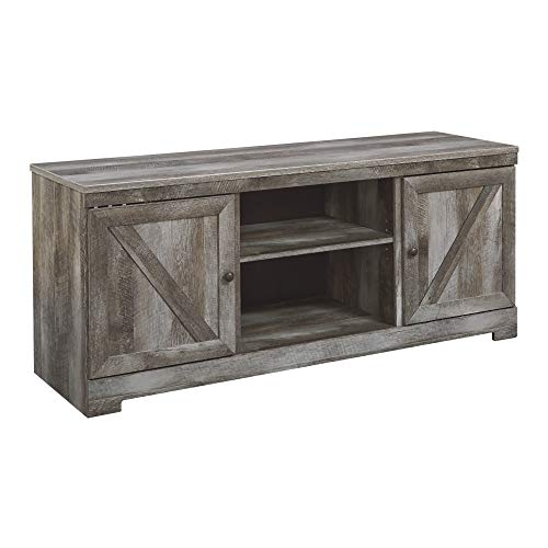 Signature Design by Ashley Wynnlow  Large TV Stand with Fireplace Option Gray