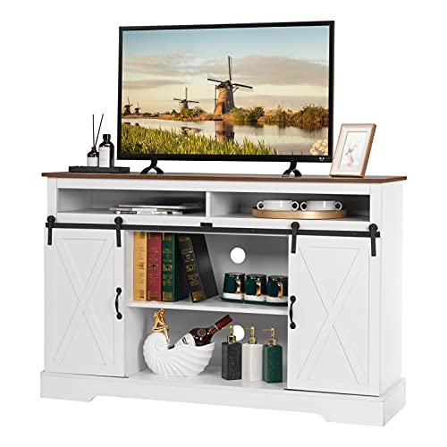 VINGLI Farmhouse Sliding Barn Doors TV Stand for TVs up to 55 Inches, Rustic Entertainment Center Media Console Table Cabinet w/Adjustable Shelves and Ample Storage Space (White )