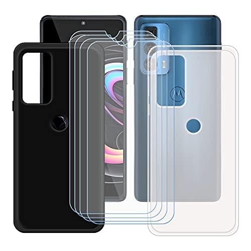 """szjckj 2 x Funda para Motorola Edge 20 Pro (6,7"""")+ 4 x Protector de Pantalla, Case Cover Carcasa Bumper Negro + Translúcido Clear TPU Silicone Cristal Vidrio Templado."""