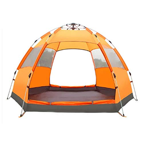 QYY Hexagon Dome Tent 3-4 Person Backpacking Tent Lightweight Waterproof Easy Setup Pop Up Family Camping Tent for Camp Outdoor Sports Hiking Travel BeachOrange
