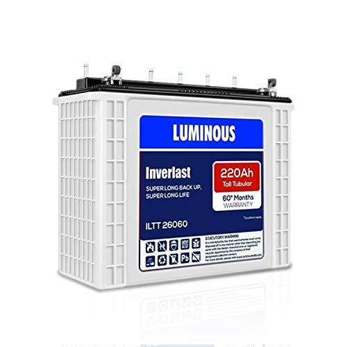Luminous Inverlast ILTT 26060 220Ah Tall Tubular Plate Inverter Battery for Home, Office & Shops