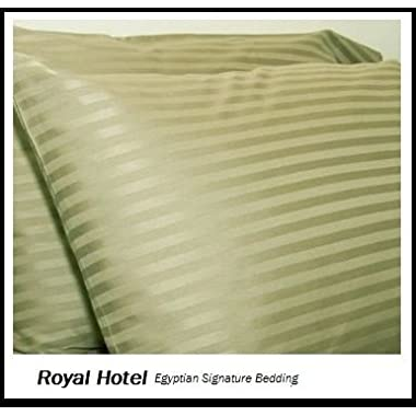 Royal's Stripe Sage 800 Thread Count 4pc Queen Bed Sheet Set 100% Cotton, Sateen Stripe, Deep Pocket