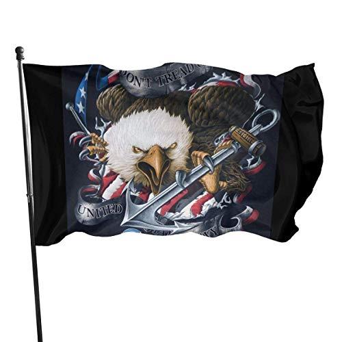 GYUB Don 't Tread On Me Bandera de poliéster de EE. UU. De la Marina de Guerra de los EE. UU. De 3x5 pies - Cabecera de Lona