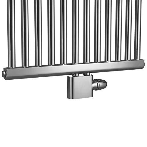 Schulte H3745002 Thermostat-Set für Heizkörper mit Mittelanschluss, Set Eck, Vorlauf und Rücklauf, Zweirohrsysteme, chrom