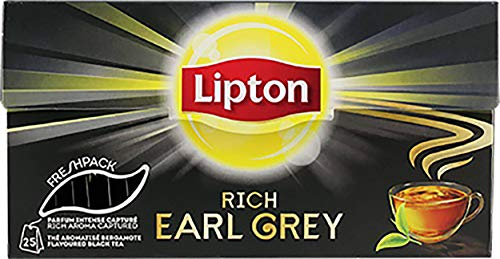 Schwarzer Tee | Lipton | Earl Grey Freshpack 25 Stuks | Gesamtgewicht 40 Gramm