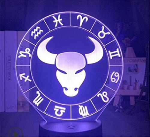 3D Luce Notturna per Bambini Taurus Illusione Lampada Giocattolo Compleanno Natale Festival Regali per Ragazzi Bambini Camera