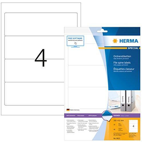 HERMA 8621 Ordnerrücken Etiketten DIN A4 blickdicht, kurz/breit (192 x 61 mm, 10 Blatt, Papier, matt) selbstklebend, bedruckbar, permanent haftende Ordneretiketten, 40 Rückenschilder, weiß