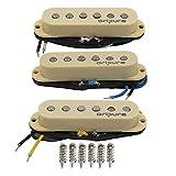 OriPure Vintage Alnico 5 Single Coil Strat Pastillas Mástil/Medio/Puente Piezas de poste escalonadas para Stratocaster/Squier Style Guitarra eléctrica, Crema