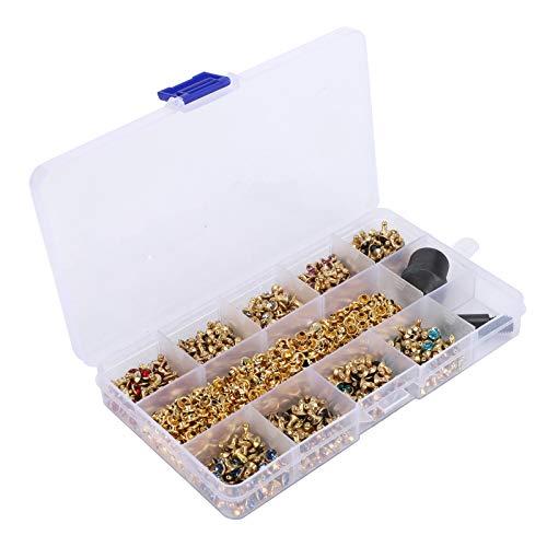 KUIDAMOS Remaches de Diamantes de imitación, Remaches Decorativos, con Caja de Almacenamiento Mochilas para Bricolaje para apreciar la decoración para diseños a Juego Pulseras de Cuero Chaquetas