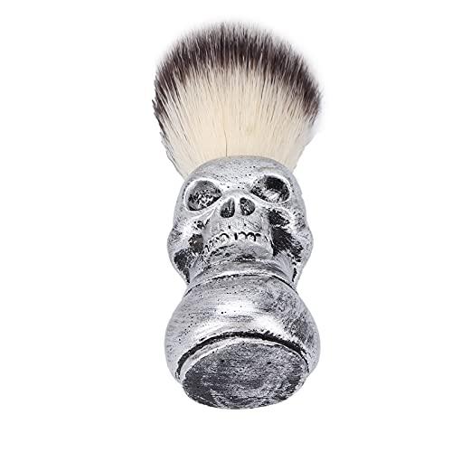 Brocha De Afeitar Para Barba Para Hombres, Brocha De Afeitar Para El Cabello, Tacto Metálico Para Limpieza Facial, Peluquería, Peluquería Profesional(Cepillo para barba con calavera plateada)