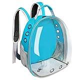 HEHUANG Bolsa de Transporte de Gato para Mascotas Transpirable Espacio Transparente Mascotas Mochila Bolsa de cápsula para Gatos Cachorro Astronauta Viaje Bolsa de Transporte al Aire Libre, Azul