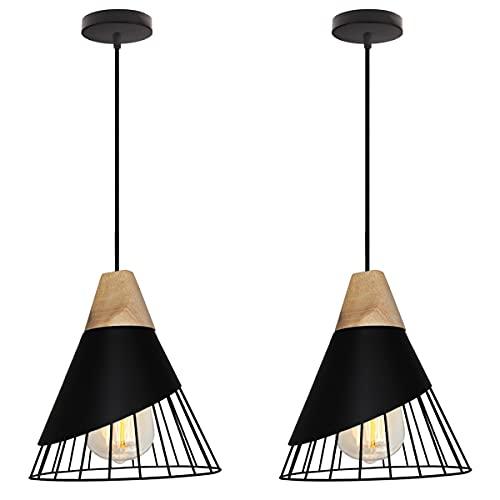 TOKIUS Suspension Luminaire Moderne Industrielle Bois Lustre Abat-jour Métal Vintage forme Cage Ø25cm Plafonnier E27 Design pour Cuisine Chambre Salon (Noir -2pcs)