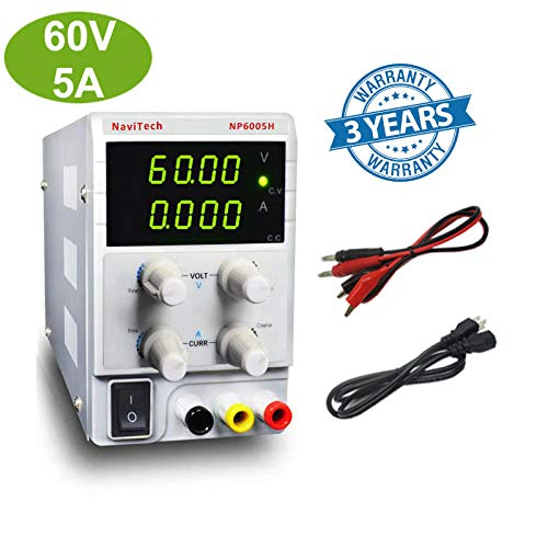 60V 5A DC Bench Power Supply Variable 4-Digital LED Display, High Precision Adjustable Regulated Switching Power Supply with Free Alligator Leads US Power Cord for Lab/Electronic Repair/DIY/Aging Test