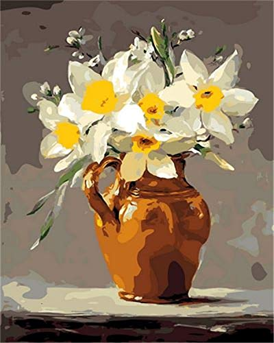 Pintura por nmeros Kits de lienzo Flores DIY Hecho a mano Imgenes de regalo por nmeros Florero Hogar Sala de estar Arte Artesana A11 40x50cm
