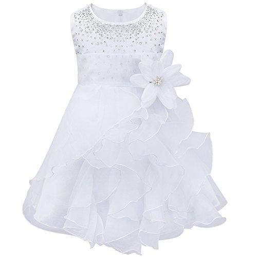 iEFiEL Abito da Battesimo Neonata Bimba Principessa Vestito da Cerimonia Nuziale con Strass Fiore Abito da Sposa Sera Matrimonio per Bambina Vestitino Nozze 3 Mesi- 3 Anni Bianco 12-18 Mesi