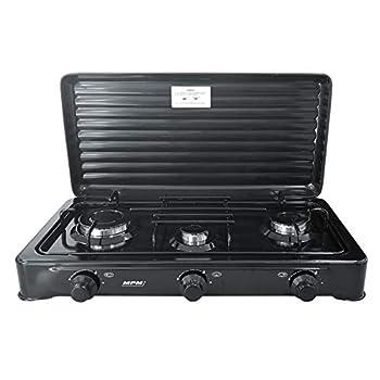 MPM Smile KN-03/1KB Cuisinière au gaz de camping Réchaud portable, 3 brûleurs réglables, couvercle amovible Noir Pour adulte Unisexe
