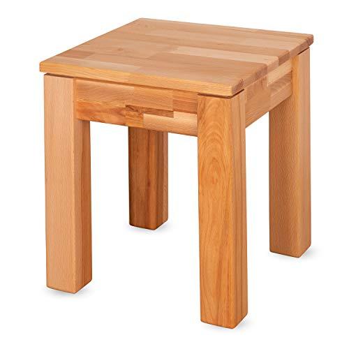 Staboos Buche Sitzhocker Holz - Massiv Holzhocker bis 200 kg - Kernbuche Holz Hocker Emma - als Nachttisch nutzbar - 36 x 36 x 45cm