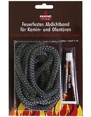 Kamino-Flam Afdichtingstape tot 550 graden - glasbreisnoer met lijm - schoorsteensnoer asbestvrij - afdichtsnoer voor open haard permanent temperatuurbestendig - ovenafdichtsnoer 10 mm - ovenlijnlijm