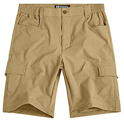 WenVen Men's Casual Lightweight Outdoor Quick Dry Shorts with Pockets Khaki, 38