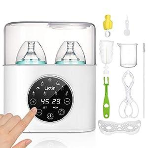 Lictin Calienta Biberones- 5 in 1 Calienta Biberón con Función de Descongelación,Esterilizador y Calentación para Leche Fórmula Potitos,Calentar 2 Botellas al Mismo Tiempo con Herramientas de Limpieza