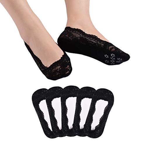 5 Paar Damen Füßlinge Ballerina Socken Spitzen-Füßlinge Sommer Socken mit Rutschfeste Silikon (5 Paar-Schwarz)