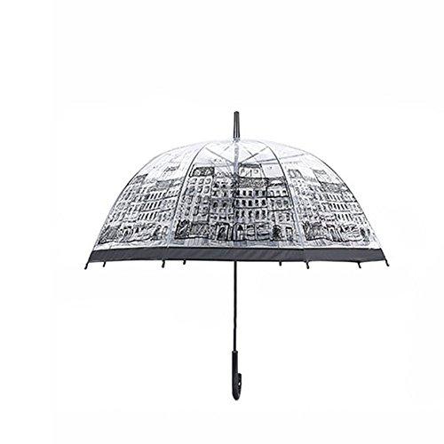 symboat mujeres transparente Borrar paraguas casa edificio en plein air dama niña seta lluvia paraguas con mango largo