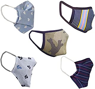 Cotton Cloth pack of 15 Face Mask Washable Reusable Face Masks Soft Earloop/Mouth Nose Cover face masks Men Women Kids Unisex (ArmyPrint,stripe,purple,round anchor&blue heart)