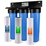 iSpring WGB32B-PB 3-Stage Whole House Water Filtration System w/ 20-Inch Sediment, Carbon Block, and Lead Reducing Filter