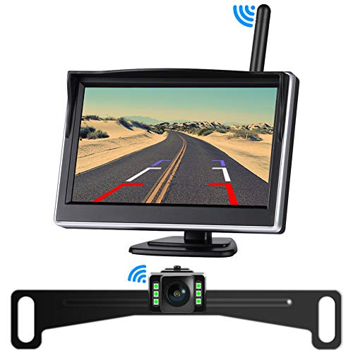 SAMFIWI Wireless Backup Camera System kit with Digital Signal, 5in 720P HD TFT-LCD Monitor for Sedans, Pickup Truck, SUV, Minivans