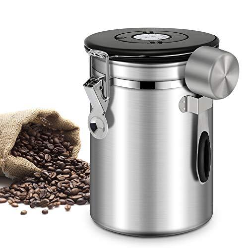 Panda Grip Kaffeedose Luftdicht,Kaffeedose Edelstahl Aromadose Vorratsdose, Kaffeebehälter, kaffeebohnenbehälter Vakuum kaffeedose mit löffel,für Kaffeebohnen oder Kaffeepulver Tee Nüsse 1.5L Silber