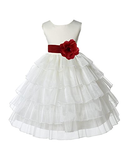 ekidsbridal Ivory Satin Shimmering Organza Flower Girl Dresses Communion Dress Baptism Dresses 308S 6