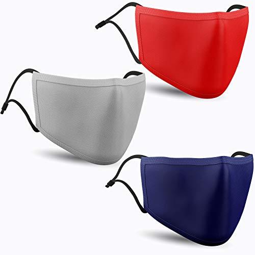 Oliver&Jay Mundschutz Maske farbig – 3er Baumwoll-Masken bunt, lustig, komisch – für Männer, Frauen & Kinder – Unisex in blau, rot & grau