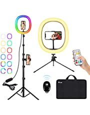 """A-TION Ring Light 12"""" RGB LED Ring Light Kit, Selfie Ring Light with Tripod Stand, Desktop Dimmable Light Ring for YouTube Tiktok Makeup Live Streaming Photography, Phone Holder Remote Included"""